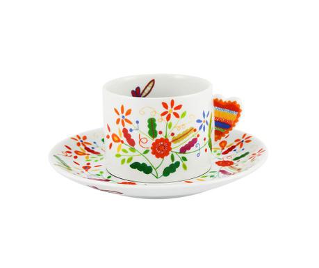 Set ceasca si farfurioara pentru ceai Vila Colorful Happy