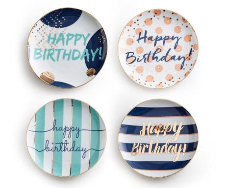 Zestaw 4 talerzyków Happy Birthday