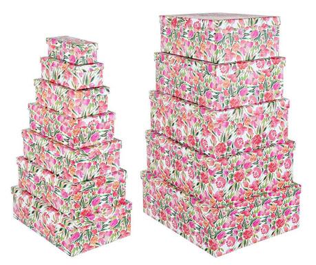 Sada 12 krabic s víkem Poppy Pink