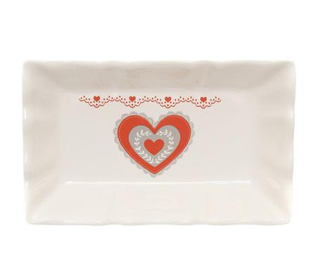 Red Lace Heart Szervírozó tál