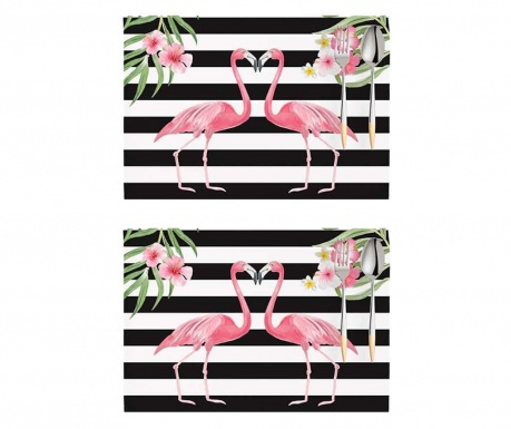 Sada 2 prestieraní Flamingo Love Story White and Black 33x45 cm