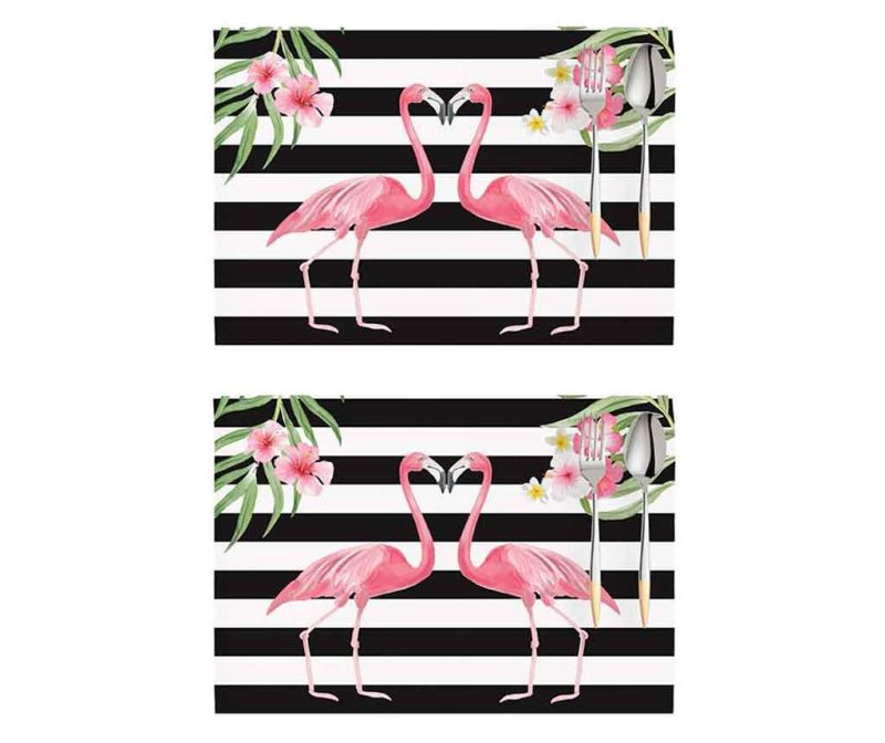 Set 2 pogrinjkov Flamingo Love Story White and Black 33x45 cm