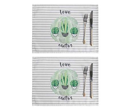 Zestaw 2 podkładek stołowych Love Cactus 33x45 cm