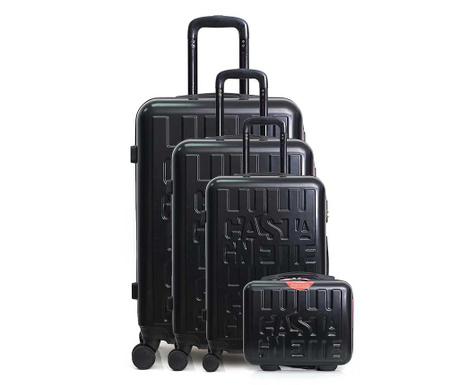Set 3 kovčkov na kolesih in toaletne torbe Lulu Casta Black