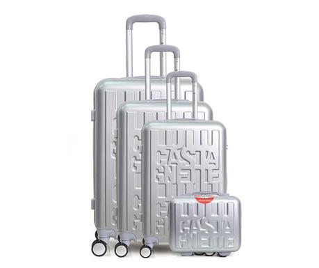 Set 3 kovčkov na kolesih in toaletne torbe Lulu Casta White