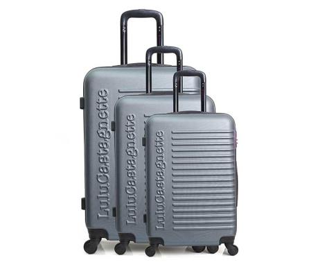 Σετ 3 βαλίτσες τρόλεϊ Lulu Classic Grey