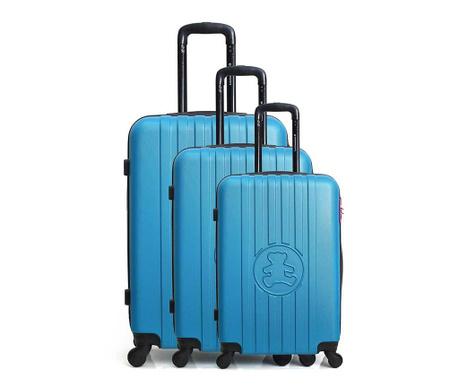 Set 3 kovčkov na kolesih Lulu Bear Blue