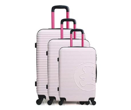Σετ 3 βαλίτσες τρόλεϊ Big Bear Pink
