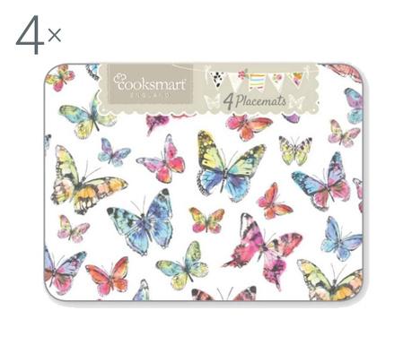 Zestaw 4 podkładek stołowych Butterflies 21.5x29 cm