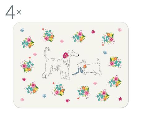 Zestaw 4 podkładek stołowych Dapper Dogs 21.5x29 cm