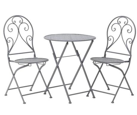 Комплект маса и 2 сгъваеми стола за екстериор Matya