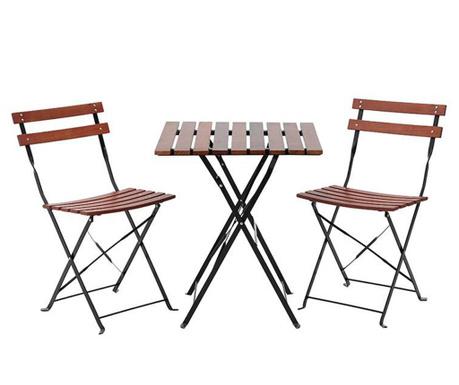 Sada venkovní stůl a 2 skládací židle Desto Brown