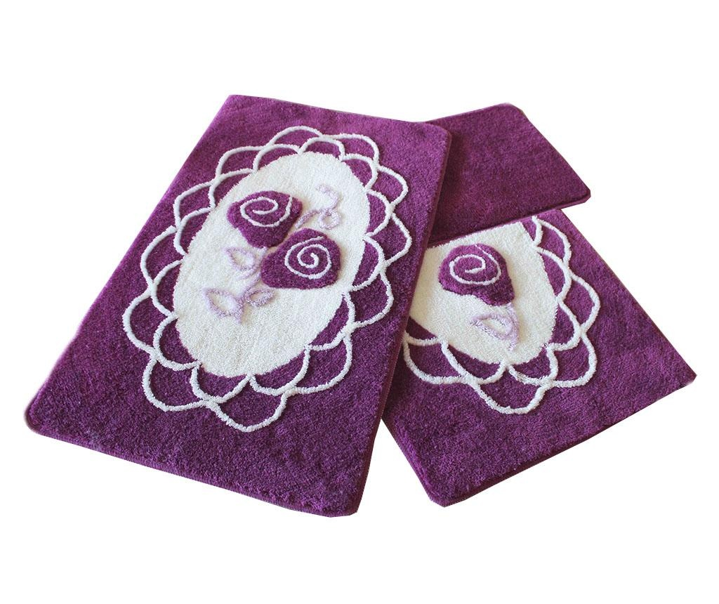 Set 3 tepiha za kupaonicu Dantel Purple