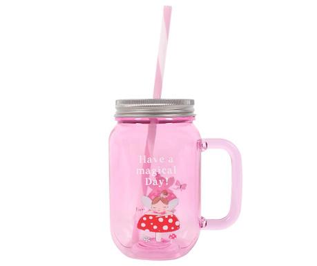 Šalica s poklopcem i slamkom Fleur Pink 350 ml