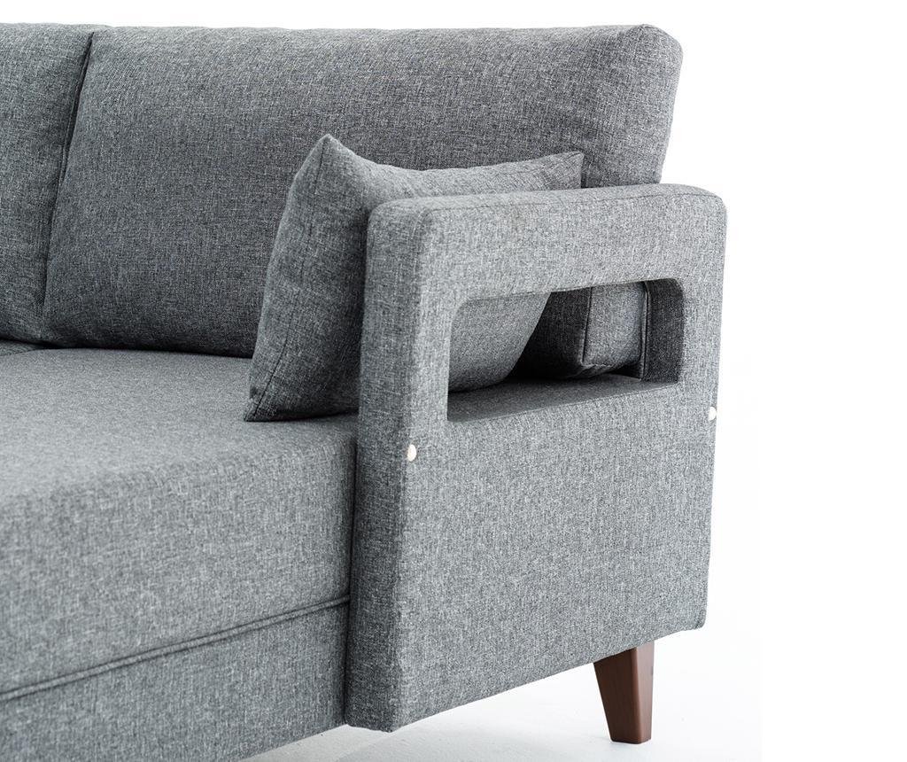 Set desna kutna garnitura  i tabure za noge Comfort Grey