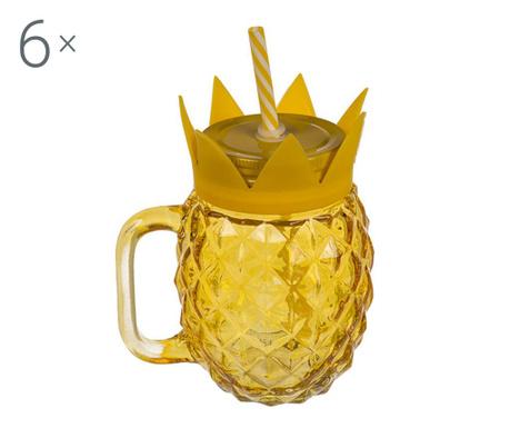 Комплект 6 чаши с капачка и сламка Pineapple 500 мл