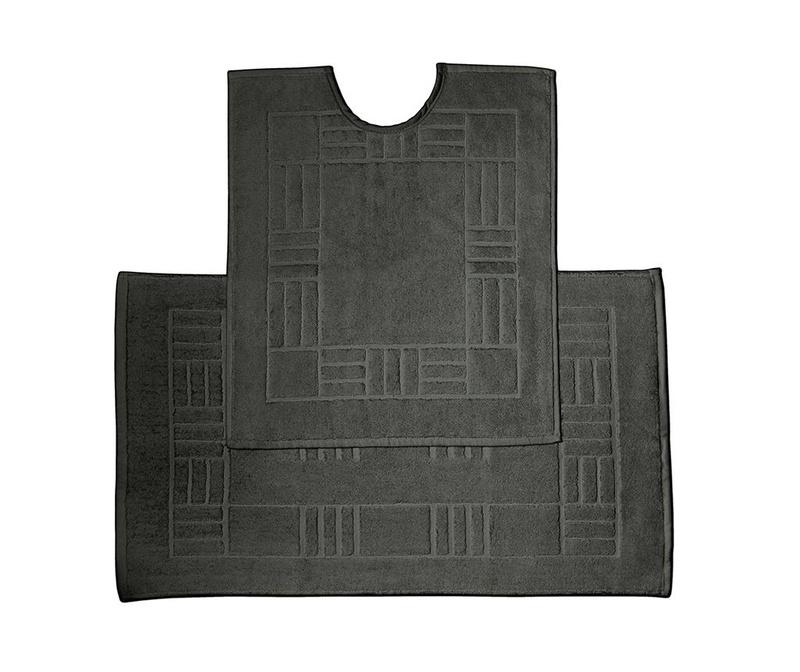 Set ručnik za noge i kupaonski tepih Reversible Verica Black