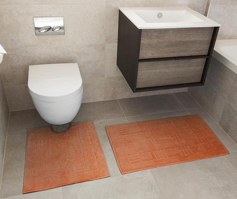 Set ručnik za noge i kupaonski tepih Reversible Verica Tangerine