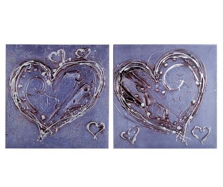 Zestaw 2 obrazów Hearted 60x60 cm
