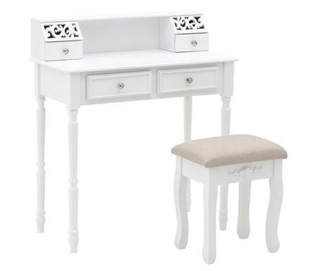 Zestaw toaletka i stołek Mirabella White