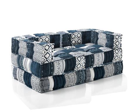 Zestaw 2 pufy i 2 poduszki podłogowe White Blue