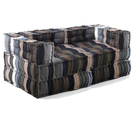 Zestaw 2 pufy i 2 poduszki podłogowe Yantra Stripes