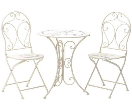 Set - zložljiva vrtna miza in 2 zložljiva vrtna stola Provence