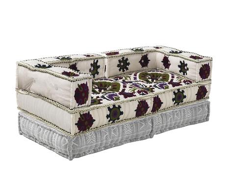 Set 2  jastuka za sjedenje i 2 podna jastuka Yantra White