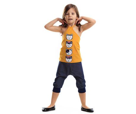 Set maiou si pantaloni trei sferturi pentru copii Japanese Denim 4 ani