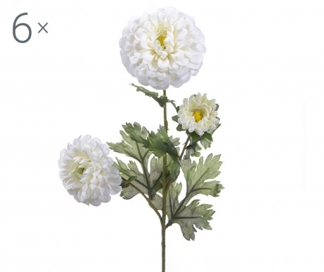 Set 6 flori artificiale Dahlia Cream