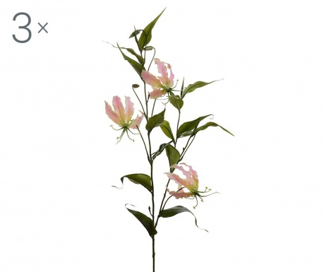 Set 3 flori artificiale Gloriosa Lilium Pink