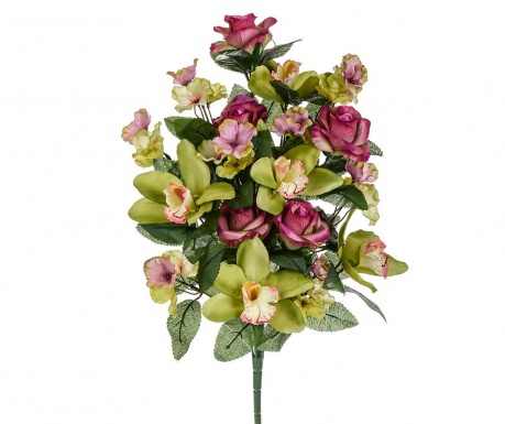 Buchet flori artificiale Orchid and Roses Burgundy