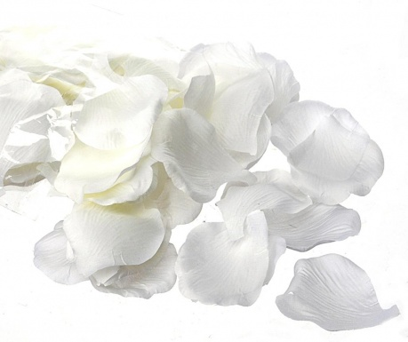 Umělé okvětní lístky růží Rose Petals White 100 bucati