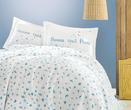 Lenjerie de pat Single Pique Angele Blue