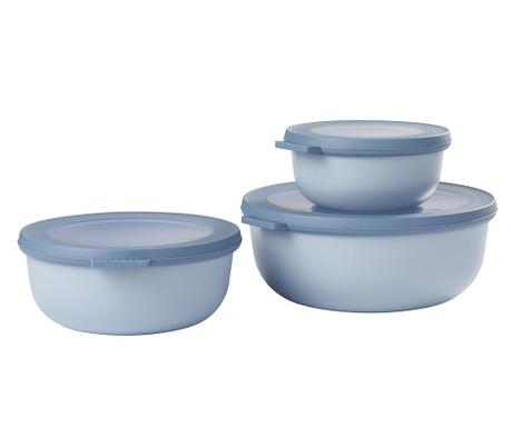Σετ 3 κουτιά αποθήκευσης τροφίμων Daian Blue