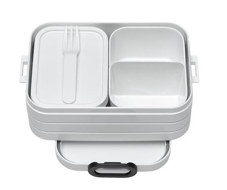 Škatla za hrano z 1 kosom jedilnega pribora Bento White S
