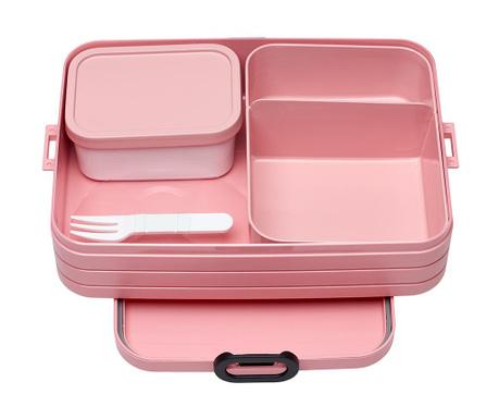 Škatla za hrano z 1 kosom jedilnega pribora Bento Pink M