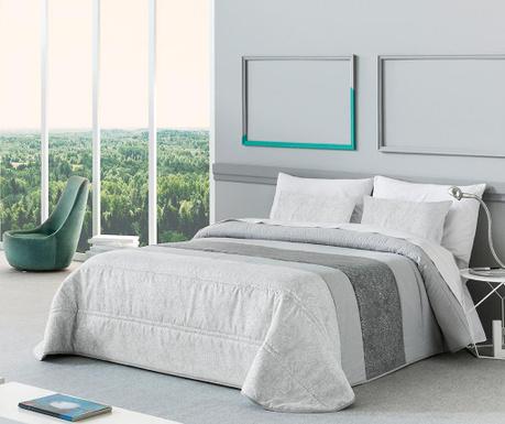 Set s prešitim posteljnim pregrinjalom King Macarena Grey