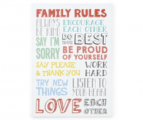Tablou Family Rules 50x70 cm