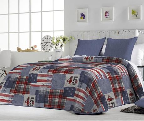 Set s prešitim posteljnim pregrinjalom King Charli Blue