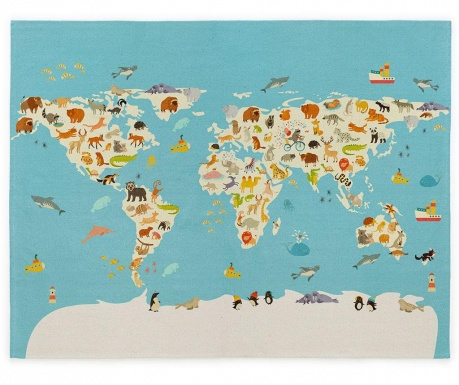 Covor World Map 120x160 cm