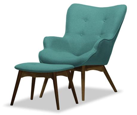 Set fotoliu si taburet pentru picioare Ducon Ontario Turquoise