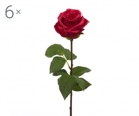 Set 6 flori artificiale Rosa Roman Red