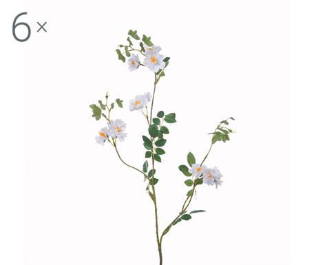 Set 6 umetnih cvetlic Mini Rosa White