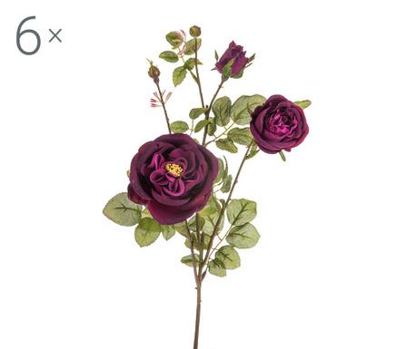 Sada 6 umělých květin Rosa Romantica Burghundy