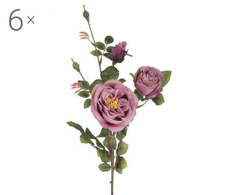 Sada 6 umělých květin Rosa Romantica Mauve