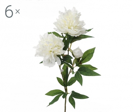 Set 6 flori artificiale Peonia White
