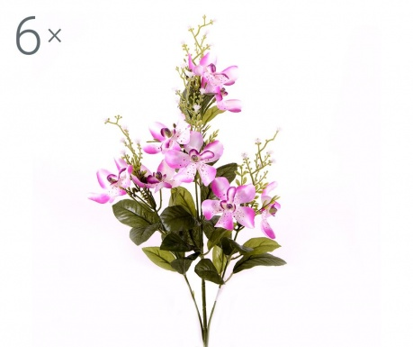 Sada 6 umělých květin Orchidea Vanda Lavander