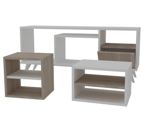 Set - TV omarica in 2 klubski mizici Selin  White Cordoba