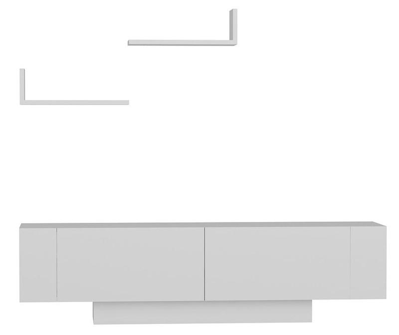 Set - TV komoda in 2 polici Ekol  White